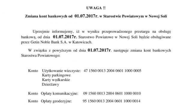 Zmiana kont bankowych wStarostwie Powiatowym wNowej Soli