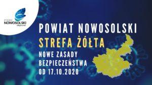 Powiat Nowosolski strefa żółta - nowe zasady bezpieczeństwa od17.10.2020 - wtle logo powitu, grafika przedstawiająca powiat iwirus