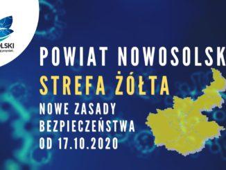 Powiat Nowosolski - strefa żółta - nowe zasady bezpieczeństwa od 17.10.2020 - w tle logo powitu, grafika przedstawiająca powiat i wirus