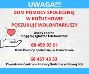 Osoby chętne dopomocy mogą się zgłaszać telefonicznie: 68 459 93 91 - Dom Pomocy Społecznej wKożuchowie, 68 457 43 33 – Powiatowe Centrum Pomocy Rodzinie wNowej Soli.