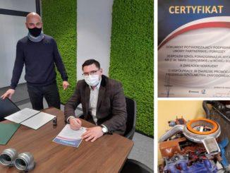 Kolaż zdjęć - podpisanie umowy, certyfikat, sprzęt