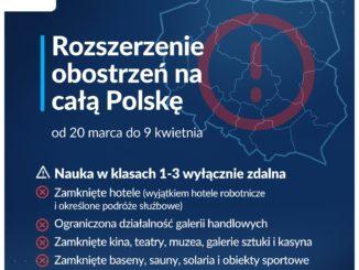 Rozszerzenie obostrzeń na całą Polskę od 20 marca do 9 kwietnia