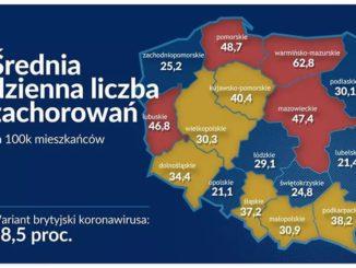 Mapa KPRP dotycząca liczby zachorowań w kraju
