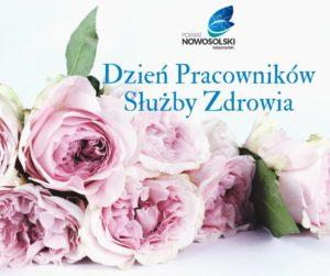 Róże, logo powiatu oraznapis Dzień Pracowników Służby Zdrowia
