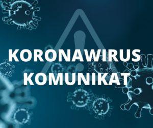Grafika wirusy, znak ostrzegawczy inapis koronawirus komuniat
