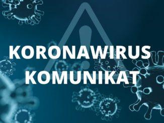 Grafika wirusy, znak ostrzegawczy i napis koronawirus komuniat