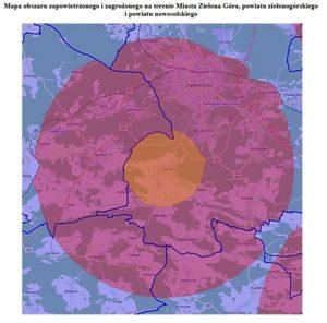 mapa województwa zoznaczeniem obszaru zagrożonego izapowietrzonego