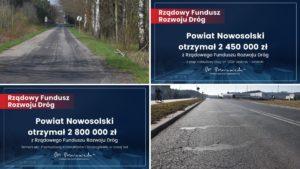 4 zdjęcia - 2 zaktualnym stanem dróg i2 czeków zprzyznanym dofinansowaniem zRFRD