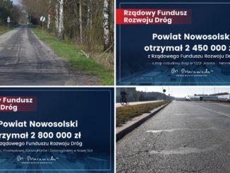 4 zdjęcia - 2 z aktualnym stanem dróg i 2 czeków z przyznanym dofinansowaniem z RFRD