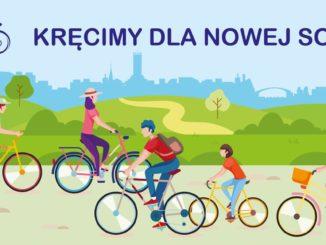 Rowerzysci i hasło - Kręcimy dla Nowej Soli