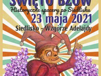 Plakat Święta Bzów 2021, kuglarz na tle bzów oraz program imprezy