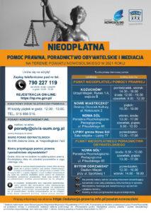 Plakat informacyjny dotyczący darmowych porad prawnych
